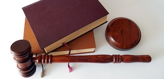 books and gavel on table