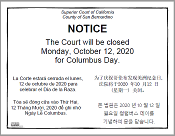 The Court Closed Monday, October 12, 2020