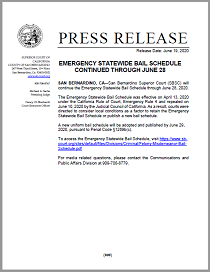 Emergency Statewide Bail Schedule Continued Thru June 28