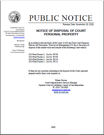 Notice of Disposal of Court Personal Property