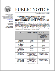 SBSC To Temporarily Close Most Courthouses Effective 031720
