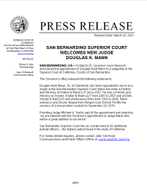 SBSC Welcomes New Judge Douglas K. Mann